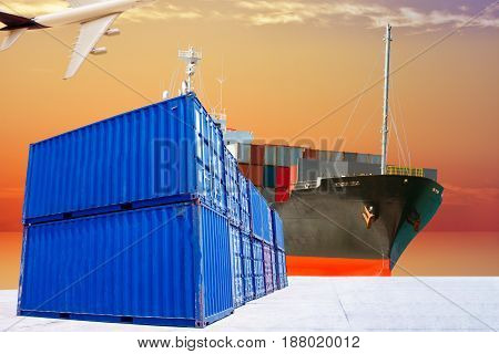 container with ship transportation goods import export & delivery.