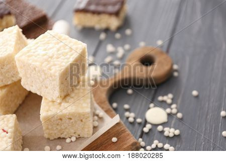 White crispy dessert on wooden background