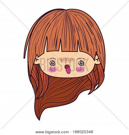 colorful caricature kawaii face little girl with wavy long hair and facial expression of madness vector illustration