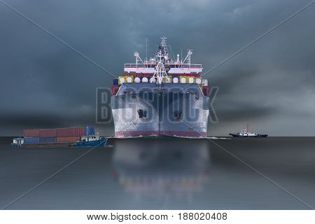 ship with container on storm sky delivery goods for import & export.