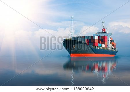 ship with container import export goods to customer.