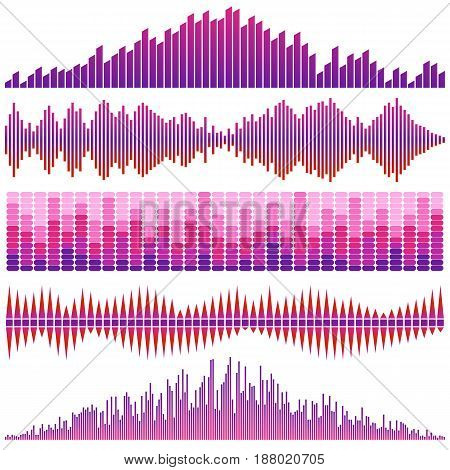 Vector set of red sound waves. Audio equalizer. Sound & audio waves isolated on white background.