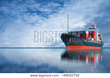 ship with international container import export goods to dock.