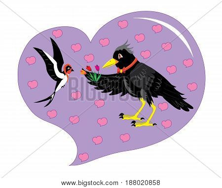 The rook gives swallow flowers. Illustration. vector