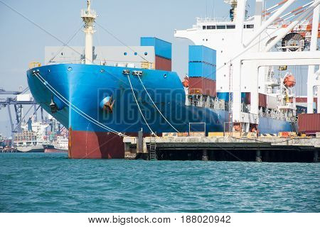 ship with container in dock import export goods.