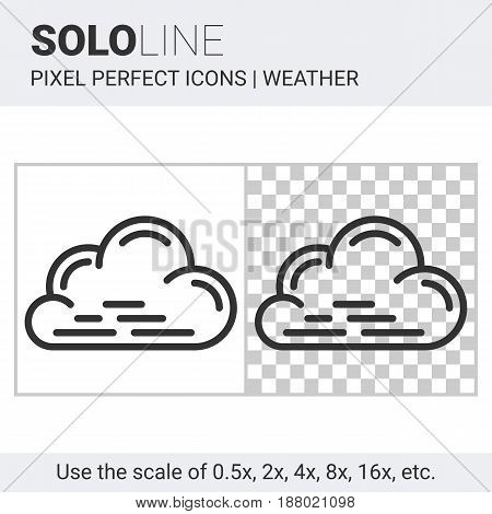 Pixel Perfect Cloud Icon In Thin Line Style On White And Transparent Background