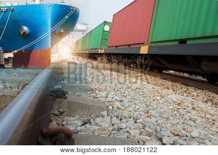 train with ship & container import export goods to custom.