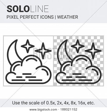 Pixel Perfect Night Cloudy Icon In Thin Line Style On White And Transparent Background