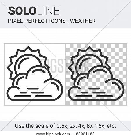 Pixel Perfect Partly Cloudy Icon In Thin Line Style On White And Transparent Background