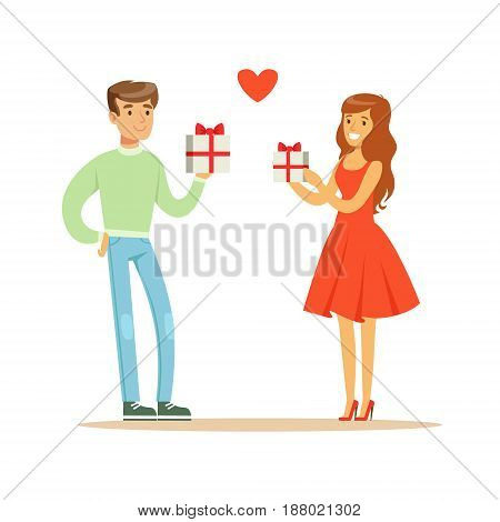 Young enamored woman and man standing and holding gift boxes with red ribbon colorful character vector Illustration isolated on a white background