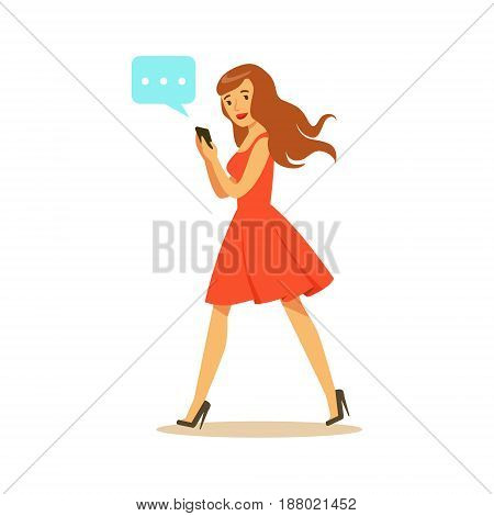 Young woman walking and sending a message to someone using her smartphone colorful character vector Illustration isolated on a white background