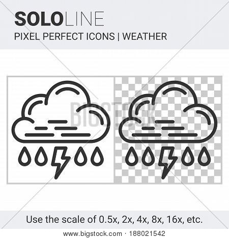 Pixel Perfect Rain With Thunderstorm Icon In Thin Line Style On White And Transparent Background