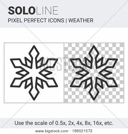 Pixel Perfect Snowflake Icon In Thin Line Style On White And Transparent Background