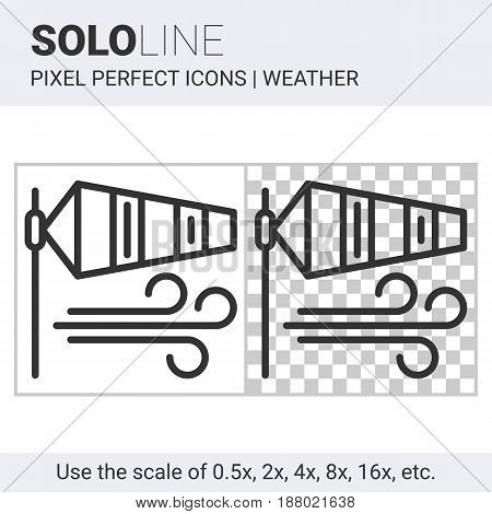 Pixel Perfect Windsock Icon In Thin Line Style On White And Transparent Background