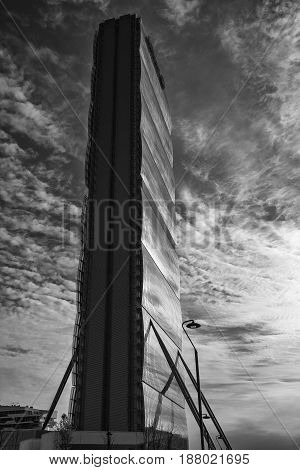 MILAN ITALY - MARCH 26 2017: Milan (Lombardy Italy): the skyscraper known as Allianz Building in the new CItylife area (Tre Torri). Black and white