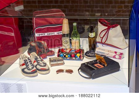 NIZHNY NOVGOROD, RUSSIA  May 20, 2017: Night of museums festival. Arsenal Kremlin Museum. Life and things from the socialist era of 60 - 90 years.Things of everyday life, sneakers, deck,tennis rackets