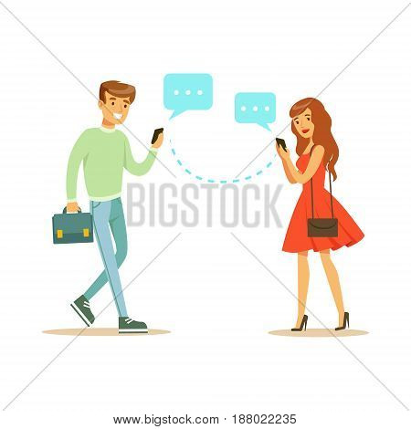 Young man and woman communicatitng with their mobile phones colorful character vector Illustration isolated on a white background