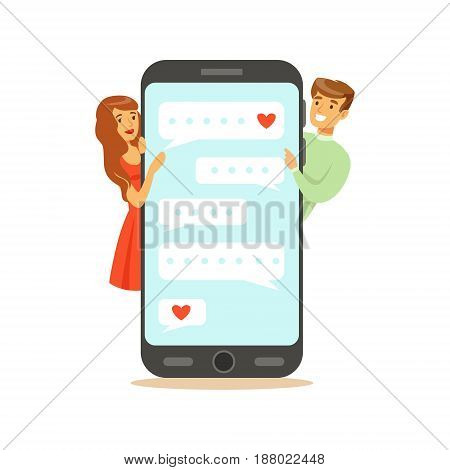 Two lovers standing near a big smartphone and communicatitng character vector Illustration isolated on a white background