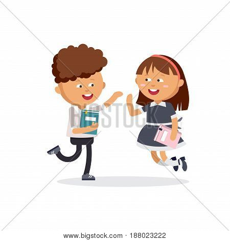 Elementary school pupils. A boy and a girl are jumping with books in their hands. Vector illustration in cartoon style