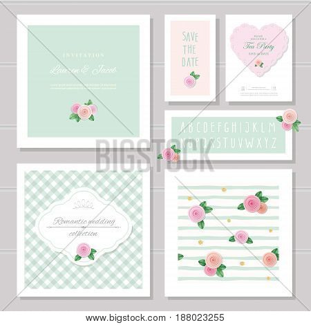 Wedding card templates set. Decorated with roses. Invitation save the date. Pastel pink and green. Romantic collection included frames patterns narrow hand written alphabet. vector