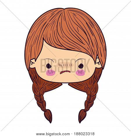 colorful caricature kawaii face little girl with braided hair and facial expression angry vector illustration