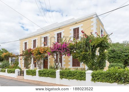 CALITZDORP SOUTH AFRICA - MARCH 24 2017: An historic old building in Calitzdorp originally built circa 1880 as a shop also used as police station and hospital