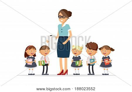 Teacher and pupils of primary school together in the classroom. Boys and girls dressed in school uniforms are holding textbooks. Vector illustration in cartoon style.