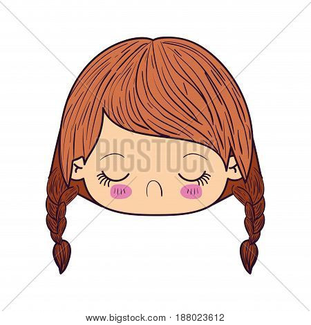 colorful caricature kawaii face little girl with braided hair and facial expression disgust vector illustration