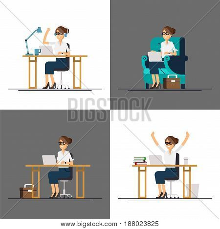Set of cool vector flat characters design on office business woman working in office behind her desk with laptop computer. Business woman using computer