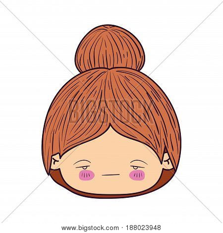 colorful caricature kawaii face little girl with collected hair and facial expression sad vector illustration