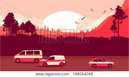 Vector illustration travel on cars route in the wild sunset sun