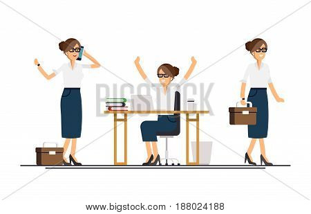 Vector modern flat design illustration on female business woman in various poses. Business woman walking browsing his mobile device, working on desktop computer, standing full length with case in hand