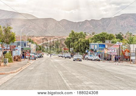 CALITZDORP SOUTH AFRICA - MARCH 24 2017: A street scene in Calitzdorp a small town in the Western Cape Province