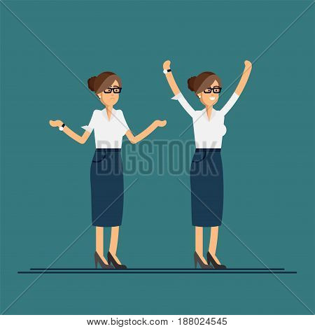 Vector flatt illustration of character in good and bad mood. Business woman showing happy and sad feeling emotions