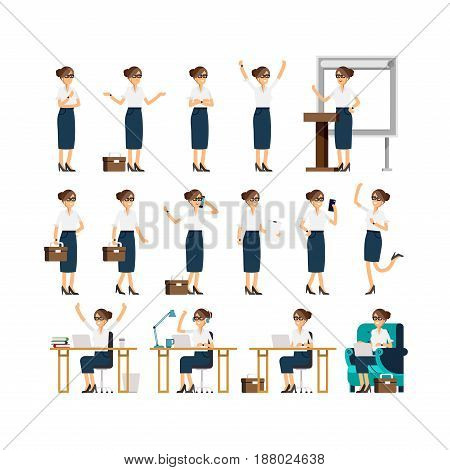 Large vector set of business woman character poses, gestures and actions. Female office worker walking, talking on phone, working, running, jumping, searching, and more. Set of business lady poses