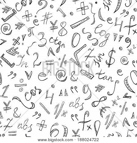 Seamless Pattern of Hand Drawn Doodle Symbols and Numbers. Scribble Mathematics Signs. Vector Illustration.