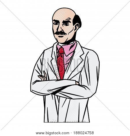 doctor male bald glasses with arms folded vector illustration