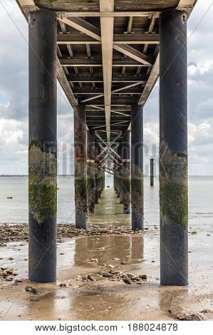Under the jetty of La Tranche-sur-Mer at low tide (Vendee, France)