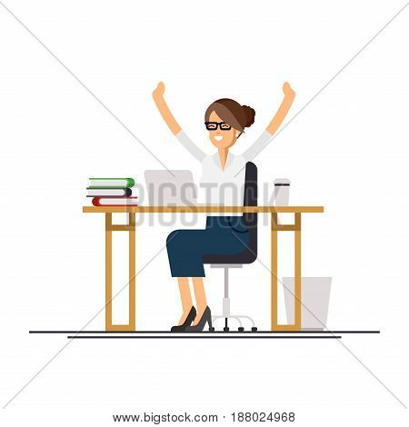 Cool vector flat character design on office business woman working in office behind her desk with laptop computer. Business woman using computer