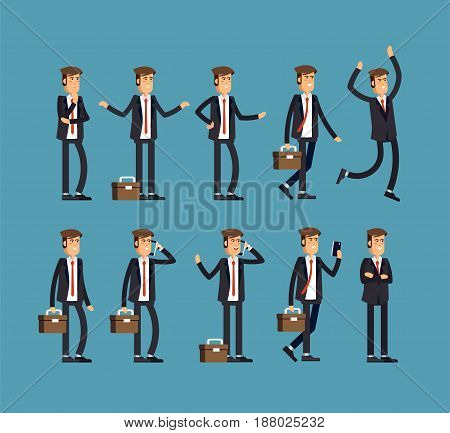 Large vector set of businessman character poses, gestures and actions. Office worker professional standing, walking, talking on phone, working, running, jumping, searching