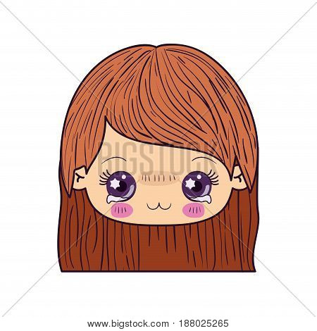 colorful caricature kawaii face little girl with straight hair and facial expression depressed vector illustration