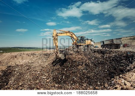 Industrial Garbage Dumpsite - Excavation Works With Heavy Duty Machinery