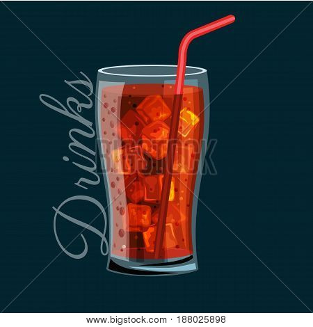 Brown carbonated soft drink in a glass, Does not contain alcohol, Cold with ice and a straw in a glass bowl Vector illustration for a concept of fast food