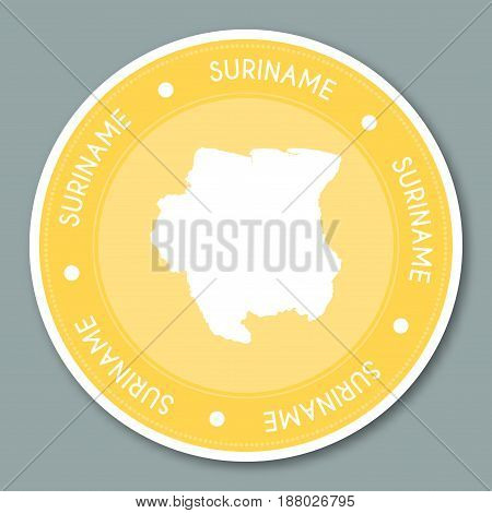 Suriname Label Flat Sticker Design. Patriotic Country Map Round Lable. Country Sticker Vector Illust