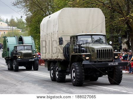 RUSSIAN KOZELSK MAY 9 2017 Victory Day May 9. Military Parade on anniversary of Victory in Great Patriotic War. Military vehicle. Two army trucks.