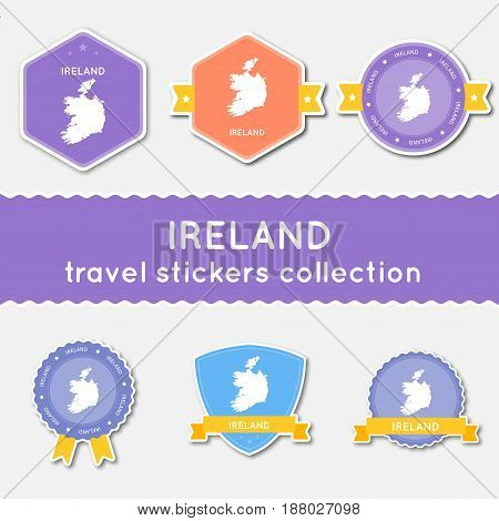 Ireland Travel Stickers Collection. Big Set Of Stickers With Country Map And Name. Flat Material Sty