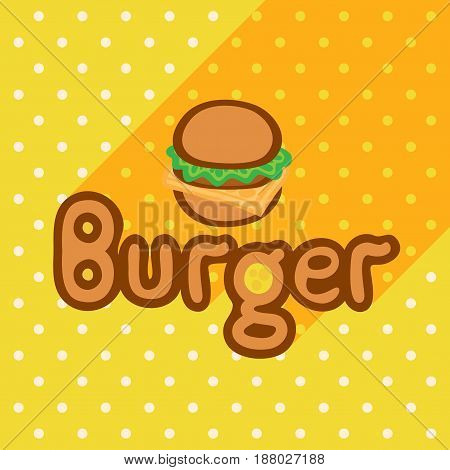 Vector poster in flat style with burger on the background of the yellow tablecloth with polka dots. Template for flyers banners invitations brochures and covers.