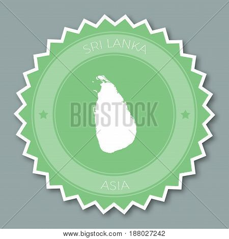 Sri Lanka Badge Flat Design. Round Flat Style Sticker Of Trendy Colors With Country Map And Name. Co