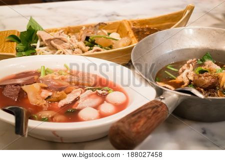 Big Meal Of Thai Styled Noodle Soup stock photo