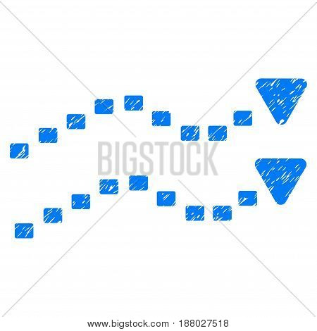 Grunge Dotted Trends icon with grunge design and scratched texture. Unclean vector blue pictogram for rubber seal stamp imitations and watermarks. Draft sign symbol.